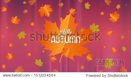 Hello autumn calligraphy and background arranged with leaves.