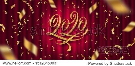 2020 New Year greeting design. Glitter gold flourishes calligraphic 2020 year logo and golden confetti on a red curtain background. Vector illustration. Can be used for greeting card  invitation  cale
