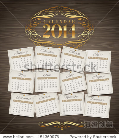 Vector design template - Calendar of 2014 with golden ornate elements on a wooden background