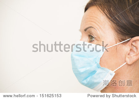 Portrait profile mature woman nurse or doctor  medical professional with mask covering mouth and nose  isolated on white background and copy space.