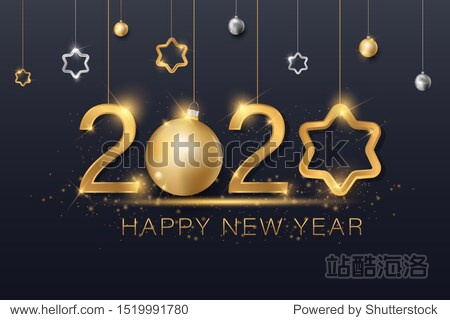 vector illustration of christmas background with christmas ball star snowflake confetti gold and black colors lace for text 2020