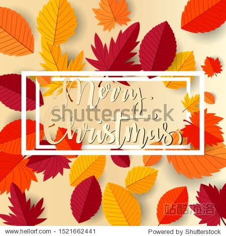 Merry christmas with autumn flat leaves design background