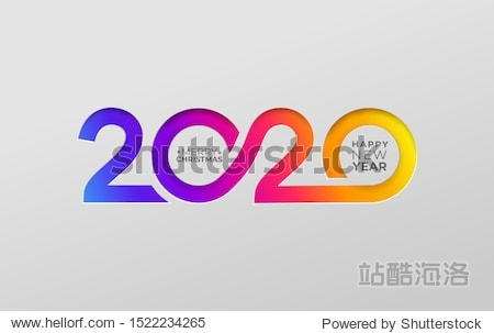 Happy new year 2020 elegant card in paper style for your seasonal holidays banners. Flyers  christmas themed congratulations  greetings  invitations. Vector illustration. Isolated on white background.