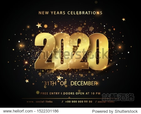 2020 New Year and Christmas posters. Vector illustration. Winter holiday invitations with gold shining   decorations. Golden Vector luxury text 2020 Happy new year. Gold Festive Numbers Design