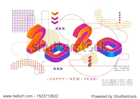 2020 Colored Memphis style. Modern Design banner with 2020 Numbers. Vector New Year illustration