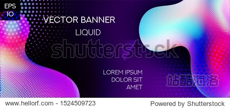 Liquid Shapes Modern Vector Banner Template. Plastic Gradient Abstract Background. Web and Presentation Fluid Iridescent Template.