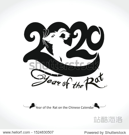 Year of the rat 2020 logo design. Pretty white rat in a circle 2020. Vector template with the inscription 2020 and Rat. New Year on the Chinese calendar.