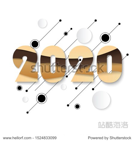 2020 Happy New Year greeting card with fluid paper cut shapes background. 2020 calligraphic numbers cut of origami paper