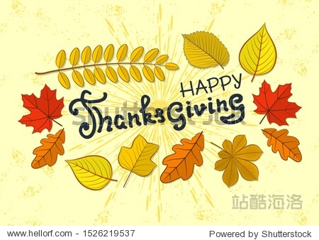 Happy Thanksgiving day poster template with autumn leaves. Vector illustration