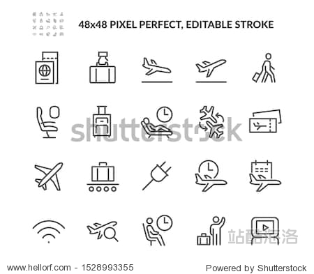 Simple Set of Airport Related Vector Line Icons. Contains such Icons as Departure  Tickets  Baggage Claim and more. Editable Stroke. 48x48 Pixel Perfect.