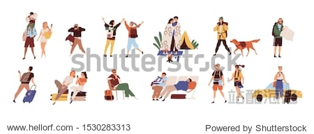 Tourists on vacation flat vector illustrations set. Young travelers cartoon characters. Seasonal recreation  adventure trip concept. Tropical resort  camping  waiting at airport and taxi catching.