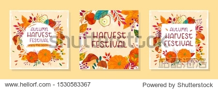 Bundle of seasonal vector autumn illustrations for harvest festival with pumpkins mushrooms apples plants leaves berries and floral elements.Agricultural fair.Trendy fall designs.