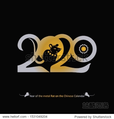 Stylish template bronze 2020 with a rat on a black background. 2020 Chinese New Year of the Metal Rat. Wise Rat 2020. New Year on the Chinese calendar.