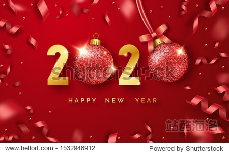 Happy New Year 2020. Background with shining numerals  balls and ribbons. New year and Christmas card illustration on red background. Holiday vector illustration of golden numbers 2020