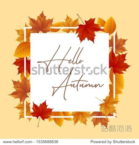 Vector illustration frame from autumn leaves
