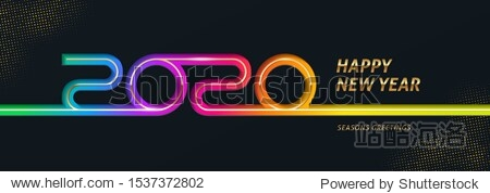 2020 new year logo. Greeting design with multicolored number of year. Design for greeting card  invitation  calendar  etc.