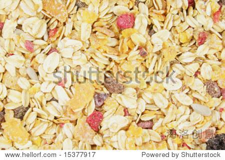 Muesli Background Including Berries  Raisins  Grains and Fruits