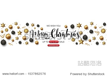 vector illustration of happy new year gold and black collors place for text christmas balls