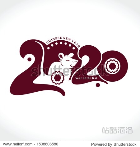 Stylish template 2020 with a cute cartoon white rat. Chinese New Year of the Metal Rat. Wise Rat 2020. New Year on the Chinese calendar.
