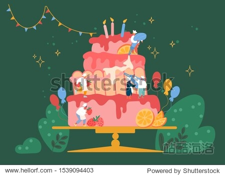 People Cook Festive Cake with Cream and Strawberries. Characters in Chef Uniform and Hats Decorating Huge Pie. Teamwork  Bakery  Giant Dessert for Birthday or Wedding Cartoon Vector Illustration