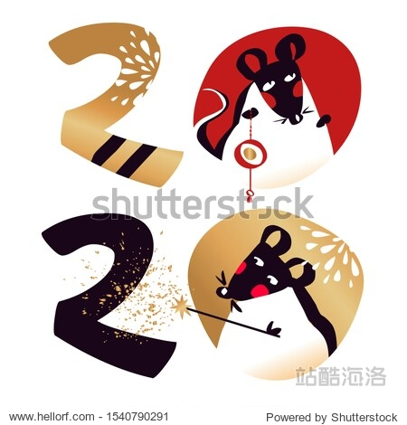 Happy new year party invitation  poster with white rat  mice. Lunar horoscope sign mouse. Chinese Happy new year 2020. Silhouette funny sketch mouse.