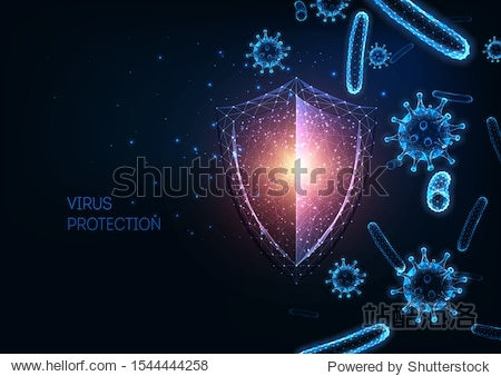 Futuristic immune system protection from infectious diseases concept with glowing low polygonal shield  virus and bacteria cells on dark blue background. Microbiology  immunology. Vector illustration.