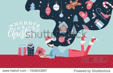 Christmas Winter illustration with cute young woman with long hair. Trendy retro style greeting card with xmas elements. Vector design template.