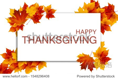 """Thanksgiving image with colored leaves surrounding the text """"Happy Thanksgiving"""" in the middle."""