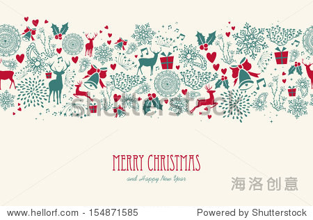 Vintage Christmas elements  reindeer with text seamless pattern background. EPS10 vector file organized in layers for easy editing.