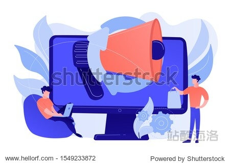 Computer with megaphone and businessman with laptop and shopping bag. Digital marketing  e-commerce  social media marketing concept. Pinkish coral bluevector isolated illustration