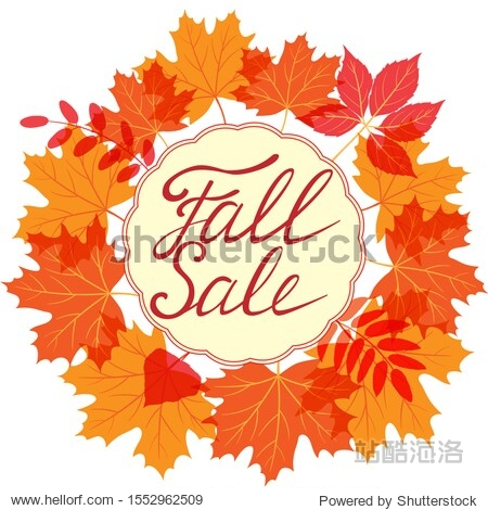Vector lettering Fall Sale with autumn leaves