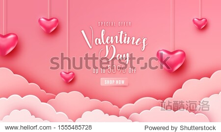 Happy valentines day greeting background in papercut realistic style. Paper clouds  flying realistic heart on string. Pink banner party invitation template. Calligraphy words text sign on copy space.