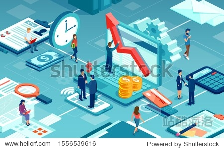 Vector of business people working together offering professional financial services to clients