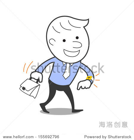 Cute businessman is happy and cheerful  watching time and walking to work. Business concept in being happy with job. Vector illustration.