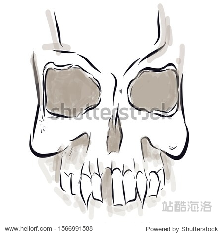 Sketch of a human skull with shadows without one tooth.