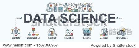 Data science banner web icon for Computer Science and insight  Ai  Big Data  algorithm  analyze  Statistic  knowledge  Deep and machine learning. minimal vector infographic concept.