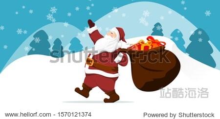 Santa claus vector illustration. christmas greeting cards