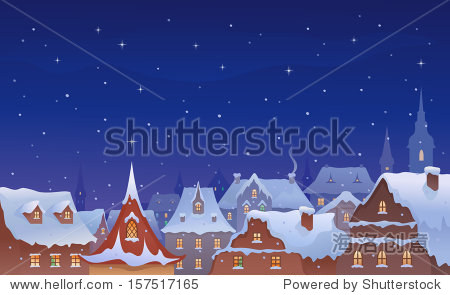 Vector illustration of a snow-covered old town's roofs