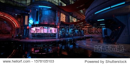 Neon night in a futuristic city. Photorealistic 3D illustration. Wallpaper in a cyberpunk style. Empty street with neon lights reflecting in a water. Beautiful night cityscape. Grunge urban landscape.
