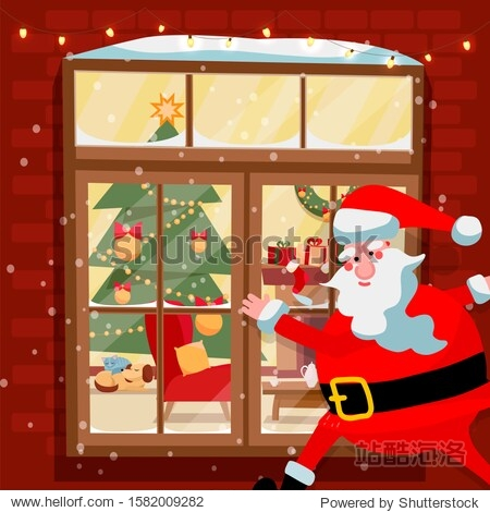 Santa Claus holding his gift bag and looking through a window with curtains into a nursery on the snowy night before Christmas  illustration in a cartoon style
