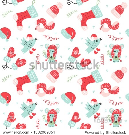 Christmas Seamless pattern with red mittens  socks  hats and cute cartoon animals in warm clothes on white background. pattern for Christmas  New Year Day  Winter Holidays
