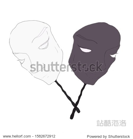 Sketch of carnival masks of different colors on a white background