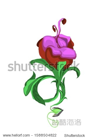 A sketch of a beautiful flower with purple petals growing from a seed