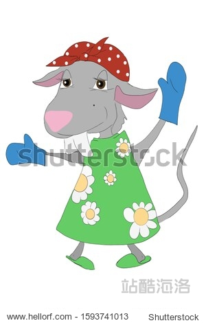 The hostess mouse in a kerchief  slippers and a dress put on mitts for the kitchen