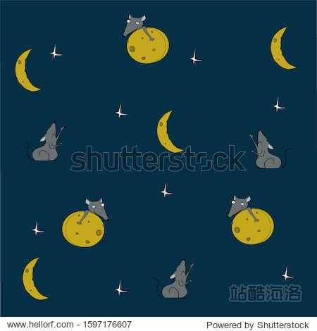 Pattern  mouse with cheese  moon and stars on a background of the night sky