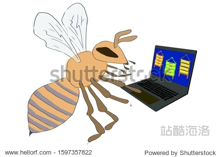A bee picks a house on a laptop  looking through offers.