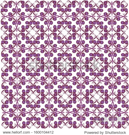 Pattern  purple bean sprouts and peas on a white background