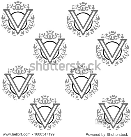 Capital letter V with monograms  vector image on a white background