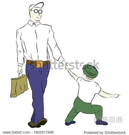Sketch  father and son go holding hands