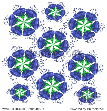 Pattern  blue flowers of different sizes on a white background